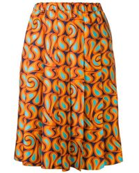 663f1dbfb1 Proenza Schouler Graphic-print Cut-out Hem Pleated-crepe Midi Skirt in  Black - Lyst