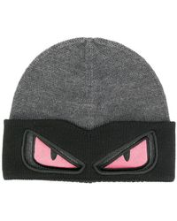 ee0b7e24c83 Fendi Knitted Beanie in Black for Men
