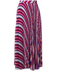 MSGM - Striped Pleated Skirt - Lyst