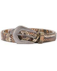 Brunello Cucinelli Cinturón con efecto de piel de serpiente - Verde