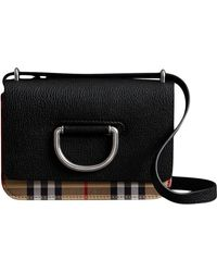 Burberry - The Mini Vintage Check And Leather D-ring Bag - Lyst