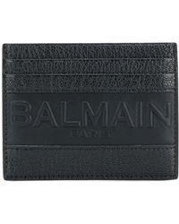Balmain Porte-cartes à logo embossé - Noir