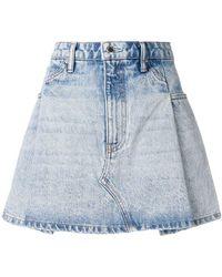 Alexander Wang - Pleated Denim Skirt - Lyst
