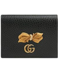 Gucci - Leather Card Case With Bow - Lyst