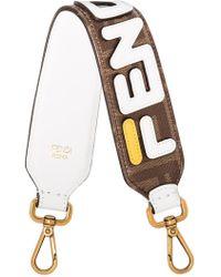 Fendi - X Fila Brown Mini Strap You Leather Bag Strap - Lyst