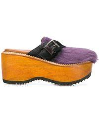 Marni - Fur Wedge Shoes - Lyst