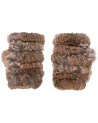 Jocelyn - Fingerless Fur Gloves - Lyst