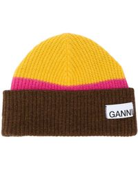 Ganni Striped Wool-blend Beanie - Yellow