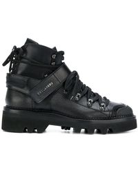DSquared² - Logo Strap Double Laced Boots - Lyst