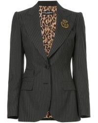 Dolce & Gabbana - Pinstripe Blazer With Crest Appliqué - Lyst