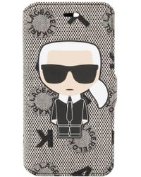 Karl Lagerfeld - Jacquard Booktype Ikonik Iphone 7 Case - Lyst