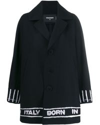 DSquared² - Logo Tape Single Breasted Coat - Lyst