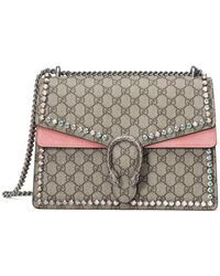 c3bda776c893 Gucci Dionysus Gg Canvas Chain Shoulder Bag With Crystals in Pink - Lyst