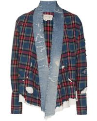 Greg Lauren - Checked And Denim Front Cotton Kimono - Lyst