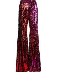 Halpern - Sequinned Wide-leg Trousers - Lyst