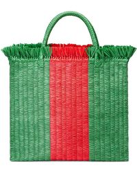 Gucci - Web Straw Large Top Handle Tote - Lyst