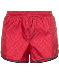 Gucci - Monogram Bee Embroidery Swim Shorts - Lyst