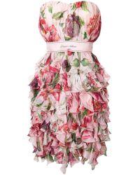 Dolce & Gabbana - Strapless Floral Print Dress - Lyst