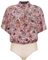Andrea Marques - Silk Shirt Bodysuit - Lyst