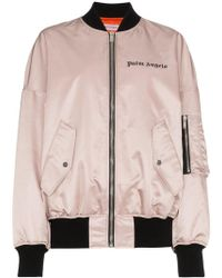 Palm Angels - Pink Satin Oversized Bomber - Lyst