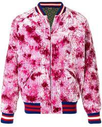 Gucci Dragon Appliquéd Crushed-velvet Bomber Jacket - Pink