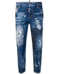DSquared² - Bleached Effect Cropped Jeans - Lyst