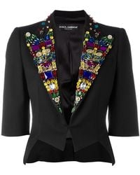 Dolce & Gabbana - Rhinestone Lapel Blazer - Lyst