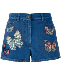 Valentino - Denim Shorts With Appliqué - Lyst