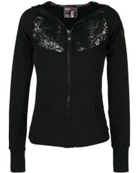 Philipp Plein - Lace-detail Zipped Fitted Hoodie - Lyst