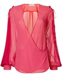 Capucci - V-neck Flared Blouse - Lyst
