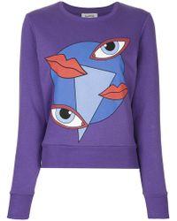Yazbukey - Lips And Eyes Graphic Print Sweatshirt - Lyst