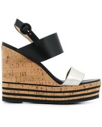 Hogan - Striped Cork Platform Sandal - Lyst