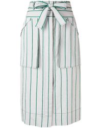 Cedric Charlier - Striped Midi Skirt - Lyst