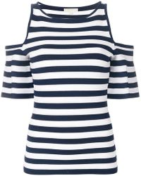 MICHAEL Michael Kors - Striped Cold Shoulder T-shirt - Lyst