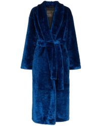 NAVRO - Royal Blue Belted Faux Fur Coat - Lyst