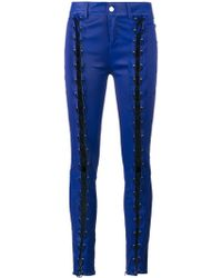 Filles A Papa - Skinny Lace-up Leather Trousers - Lyst