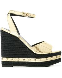 Versace - Metallic Wedge Sandals - Lyst