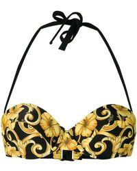 Versace - Hibiscus Print Bikini Top - Lyst