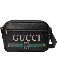 Gucci - Logo Print Leather Messenger Bag - Lyst