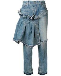 Sacai - Jeans crop svasati - Lyst