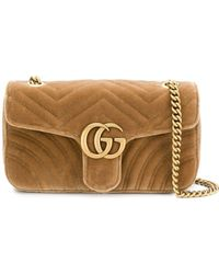 ffb5c6604 Gucci GG Marmont Leather Top-Handle Bag in Metallic - Lyst