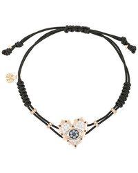 Pippo Perez - 18kt Rose Gold, Diamond And Sapphire Evil Eye Heart Charm Bracelet - Lyst