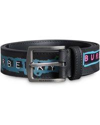 Burberry - Tag Print London Check Belt - Lyst