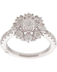 Marchesa - 18kt White Gold Diamond Floral Engagement Ring - Lyst