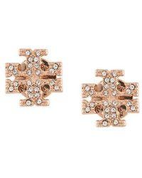 Tory Burch - Crystal Logo Stud Earrings - Lyst