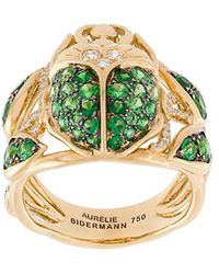 Aurelie Bidermann - 'scarab' Tsavorite And Diamond Ring - Lyst