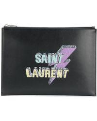 Saint Laurent - Lightning bolt-print tablet pouch - Lyst