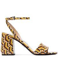 Prada - Multicoloured 85 Twist Print Patent Leather Sandals - Lyst