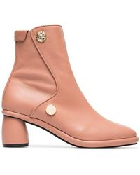 Reike Nen - Pink Curved 80 Leather Ankle Boots - Lyst