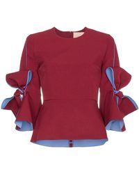 ROKSANDA - Kemi Crepe Bow Sleeve Blouse - Lyst